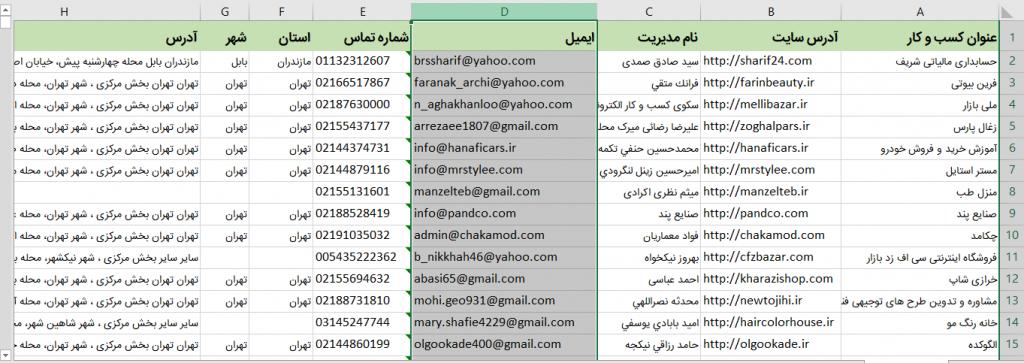 بانک ایمیل مدیران